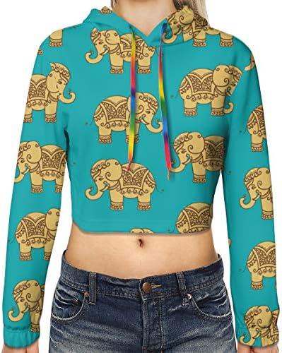 インド象柄クロップドパーカー女性の2019ファッション長袖パッチワーククロップトップスウェットシャツスポーツジムオフィススクール
