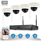 TECBOX Wireless CCTV Camera Security System - 4CH 720P HD NVR - 4 Wireless WIFI Indoor Outdoor IP Cameras, 65FT Night Vision