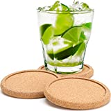 Dulce Cocina Coff Cork Coasters, Absorbent Cup Mat with Round Ring Protect Wood Furniture, Premium 8 Pack for Men & Women, Large Rustic Design Stop Spill from Hot Coffee and Cold Drinking Beverage