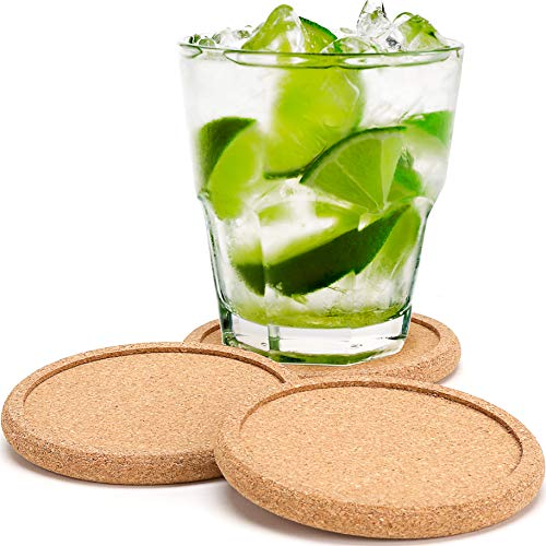 (CORK COASTERS FOR DRINKS, Absorbent Cup Mat With Round Ring Protect Wood Furniture, Premium 8 Pack for Men & Women, Large Rustic Design Stop Spill From Hot Coffee and Cold Drinking Beverage, No Holder)