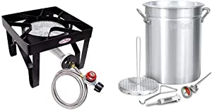GasOne 200, 000 BTU Square Heavy- Duty Single Burner Outdoor Stove Propane Gas Cooker & Steel Braided Hose Perfect for Home Brewing, Turkey Fry Classic 3025 30Qt Turkey Fryer Pot, 32 Quart, Silver