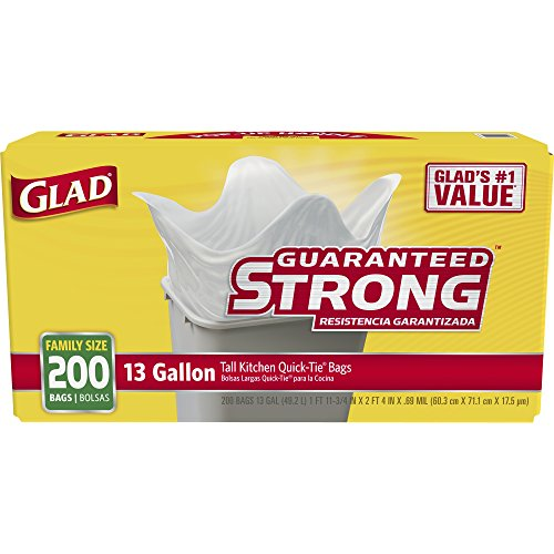 Glad Tall Kitchen Quick-Tie Trash Bags - 13 Gallon - 200 Count (15931)