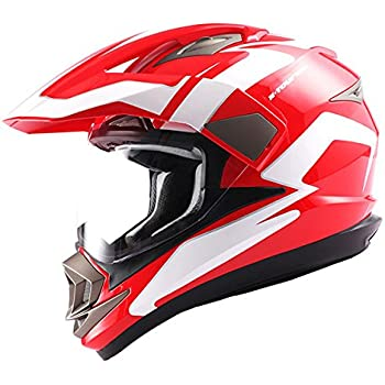 Dual Sport Helmet Motorcycle Full Face Motocross Off Road Bike Racing Red White