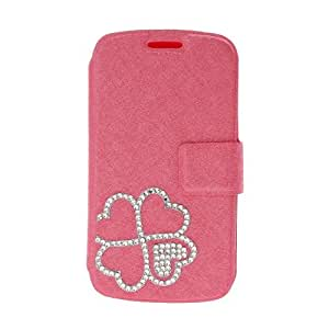 Wkae? Fashion New DIY 3D Rhinestone four leaves Solid Color PU Leather Full Body Case with stand for Samsung I699/S7562I (Pink)