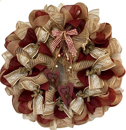 Country Burlap Valentines Day Deco Mesh Wreath With Rustic Bells and -