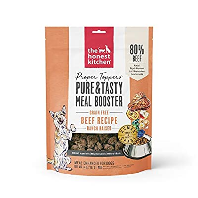 The Honest Kitchen Proper Toppers: Natural Human Grade Dehydrated Grain Free Dog Superfood - Ranch Raised Beef 14 oz