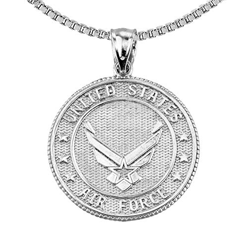 US Air Force Sterling Silver With Prayer Blessing Pendant Necklace With 20