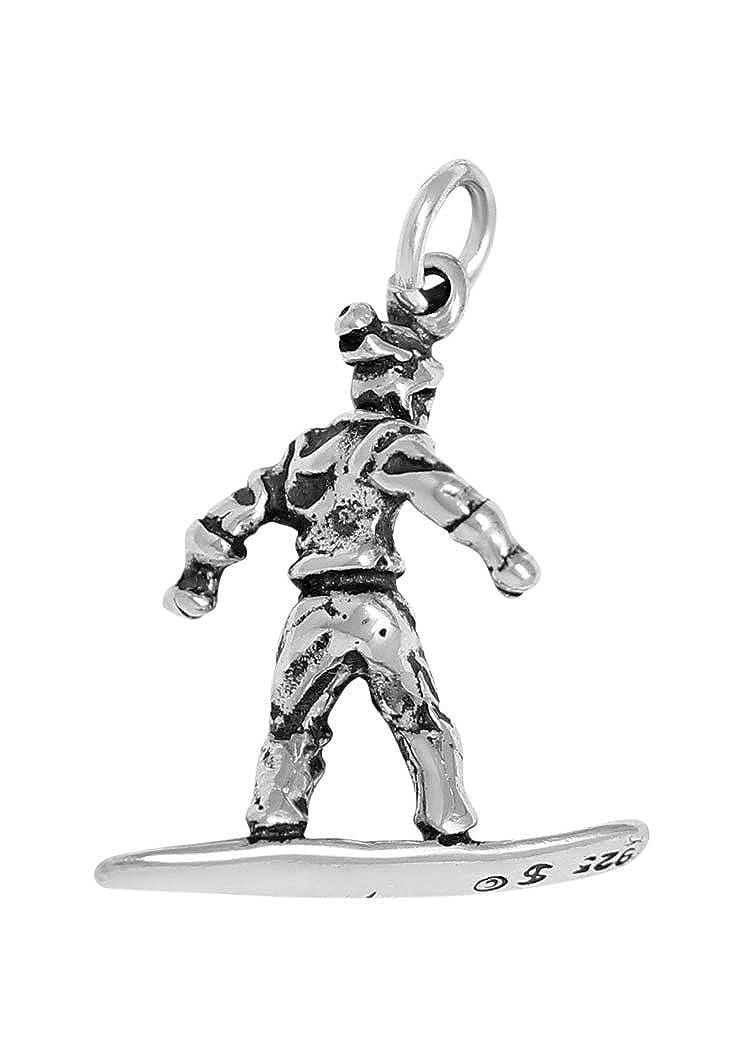 Raposa Elegance Sterling Silver 3D Snowboarding Charm on Optional Charm Holder