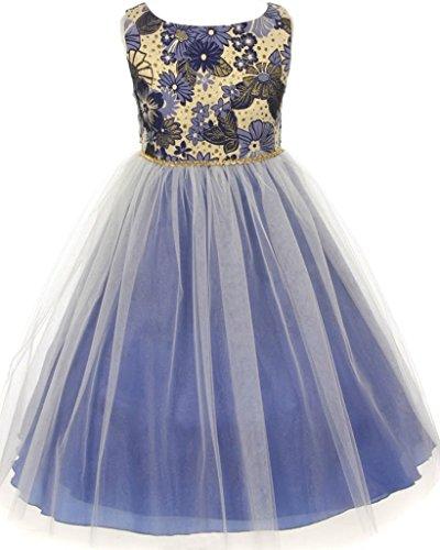 (AkiDress Multi Brocade Tulle Flower Girl Skirt for Little Girl Purple 6)