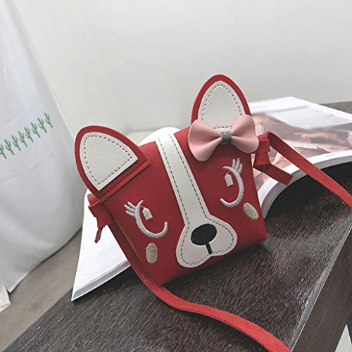 Fourre Chiens Enfants Épaule 3D Main Sac à Animal QinMM Chats Tout Loisir Crossbody Mini Mignon à Oreilles Rouge Sac Fille Shopping Bandoulière Bowknot Bag Crossbody APwH4Eq