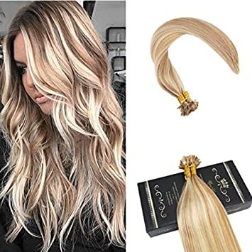Amazon Com Ugeat 16 Pro Bonded Keratin Hair Extensions Human Hair