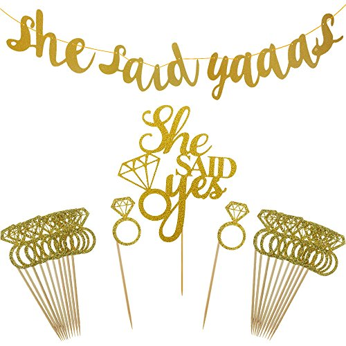 Shxstore Gold She Said Yaaas Banner She Said Yes Cake Topper Diamond Ring Cupcake Toppers for Wedding Engagement Party Decorations Supplies