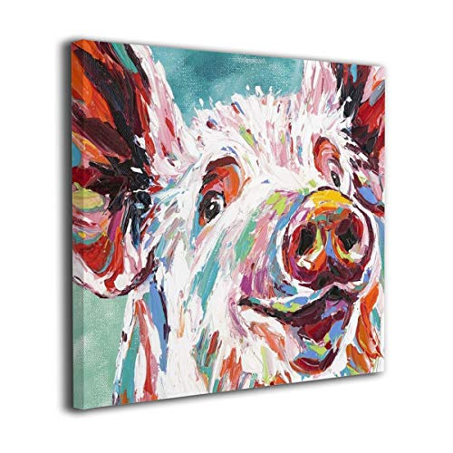 Brightly Colorful Pig Canvas Wall Art Framed and Stretched Canvas Prints for Home Wall Decoration Ready to Hang