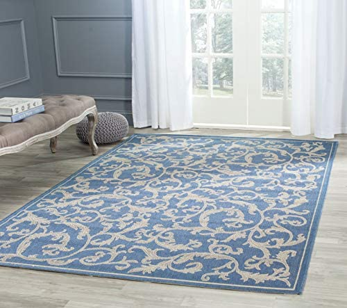 Safavieh Courtyard Collection CY2653-3103 Blue and Natural Indoor Outdoor Area Rug, 9 feet by 12 feet 9 x 12