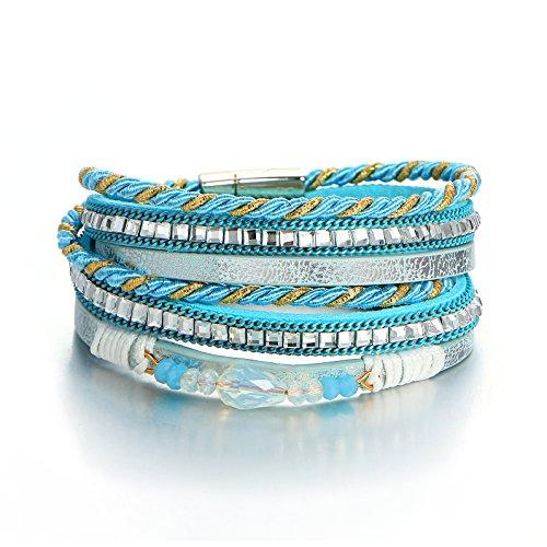- 17mile Blue Multi-row Multihued Beaded Leather Rhinestone Boho Bohemian Magnetic Clasp Gemstone Braided Double Waist Wrap Bracelet Girl Gift Summer