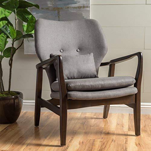 (GDF Studio 299443 Teague Espresso Wood with Dark Grey Fabric Club Chair)