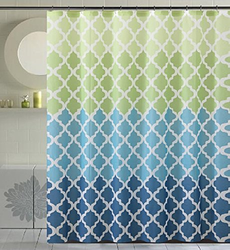 Fancy Fabric Shower Curtain with Geometric Patterns and Quat