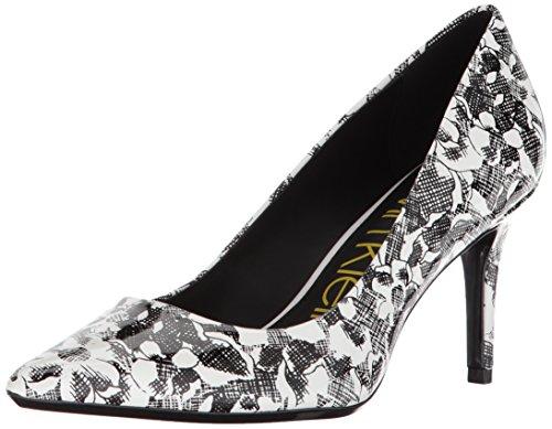 Calvin Klein Women's Gayle Metallic Stingray Pump black/white floral patent 8 Medium US ()