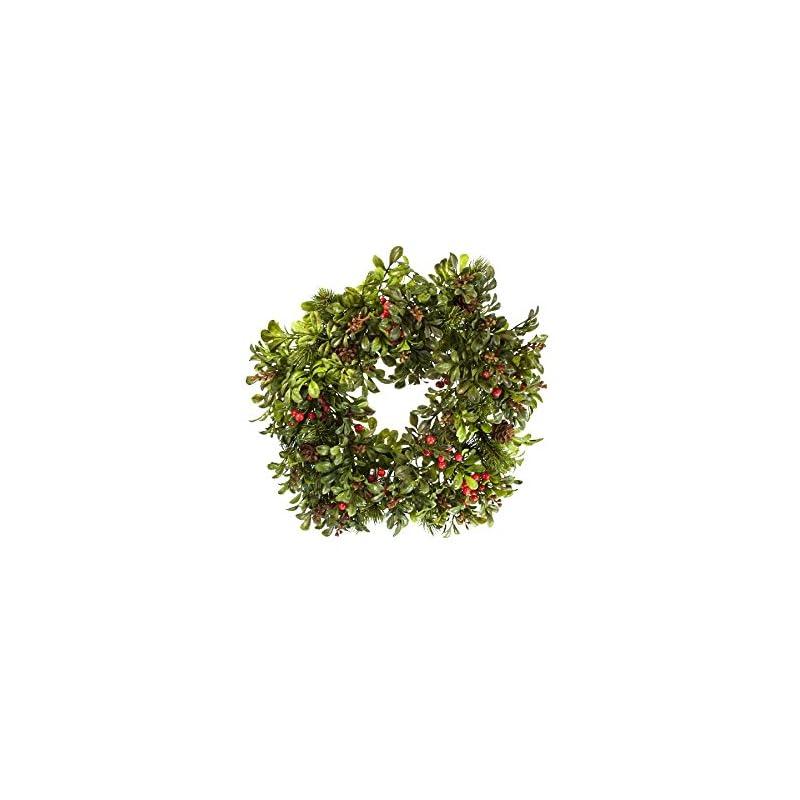 "silk flower arrangements renaissance 2000 fall boxwood berry candle ring, 6"""