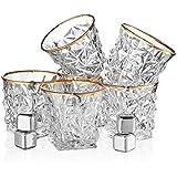 Posh Five Whiskey Glasses Set of 6 Diamond Scotch Glasses + 4 Stainless Steel Whiskey Stones