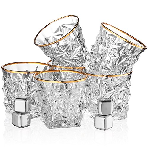 Posh Five Whiskey Glasses Set of 6 Diamond Scotch Glasses + 4 Stainless Steel Whiskey Stones by Posh Five Trading Co