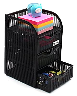 EasyPAG Mesh Desk Organizer 3 Drawer Mini Hutch Office Supplies