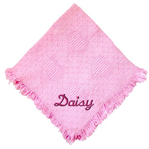Custom Embroidered Monogrammed Pink Girl Cotton Woven Personalized Baby (Crib Blanket Afghan)