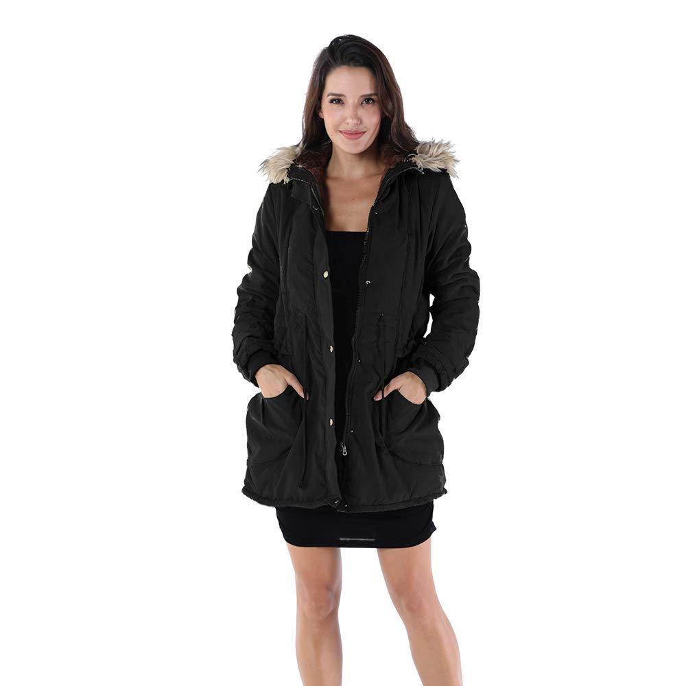 OMONSIM Women Hoodie Zip Up Fur Coat Autumn Winter Warm Jacket Plus Size Parka Outwear (XX-Large, Thick_Black)
