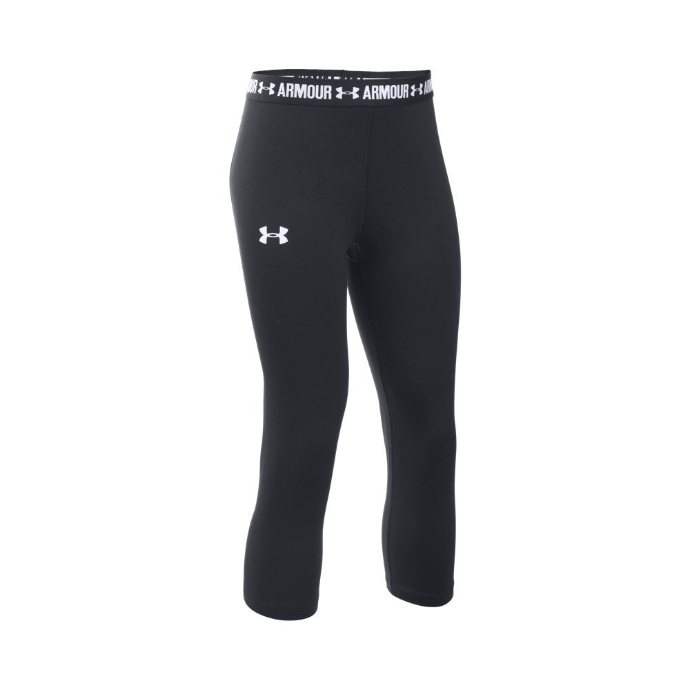 Under Armour Girls HeatGear Armour Solid Capri, Black /White, Youth X-Small