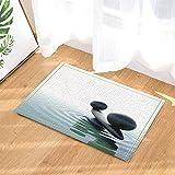 Spa Decor Black Pebble Seesaw Water Ripples Yoga Bath Rugs Non-Slip Doormat Floor Entryways Indoor Front Door Mat Kids Mat 15.7x23.6in Bathroom Accessories