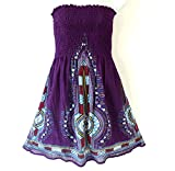 Red Dot Boutique 119 - Plus Size Dashiki Printed Babydoll Cover-up Vacation Dress (3X, Purple 111)