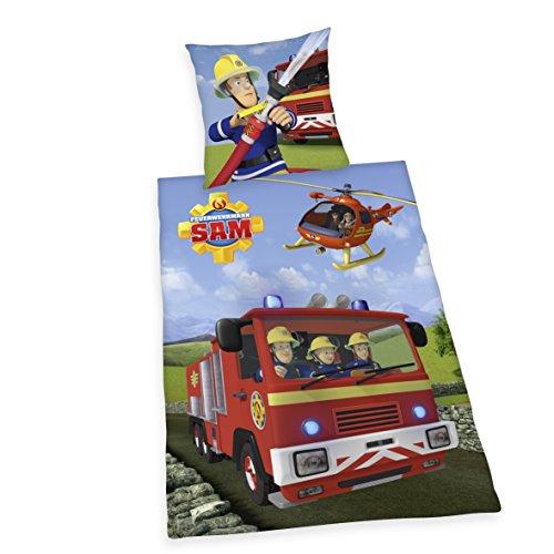 Herding 4470217050412 Feuerwehrmann Sam Bettwäsche, Baumwolle, blau, 135 x 200 x cm