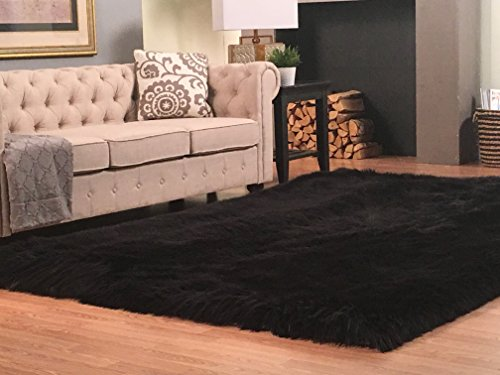 Super Soft Faux Sheepskin Silky Shag Rug, Square (18