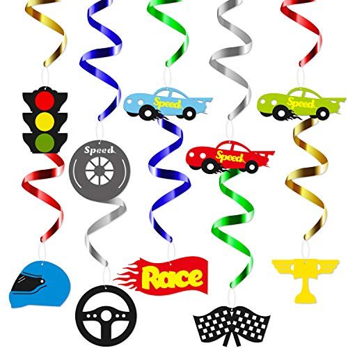 BeYumi Race Car Hanging Swirls Decorations for Let's Go Racing Themed Birthday Party Supplies Baby Shower, Festival Party, Pack of 28 -