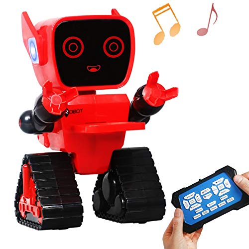 Totala Interactive Toy Robots for Kids,Wireless Smart Remote Control RC Robots with Multi-Function,Bulit-in Coin Bank,Sound Mode and Touch Mode,Rich RGB Ear Lights (Red)]()