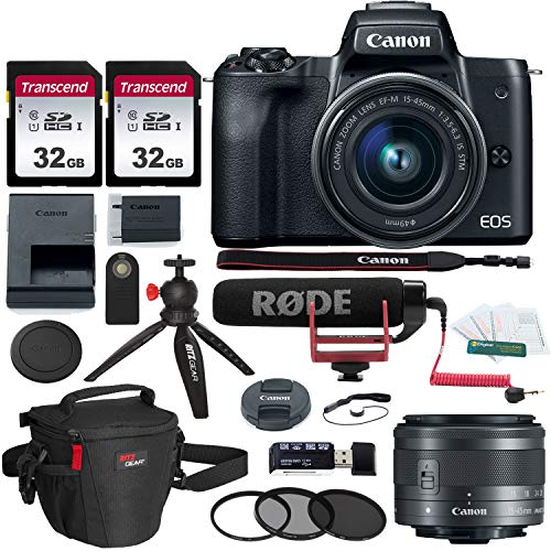 Canon EOS M50 15-45mm f/3.5-6.3 is STM Mirrorless Digital Camera Video Creator Kit, 32gb Memory Card, Camera Case, Tabletop Tripod & Accessory Bundle
