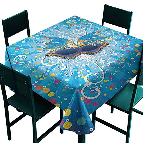Warm Family Mardi Gras Dustproof Tablecloth Blue Backdrop with Colorful Dots Spots and Carnival Mask with Stylized Swirls Great for Buffet Table W54 x L54 ()