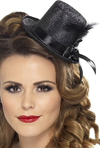 Mini Top Hat Costume (Fever Women's Mini Top hat with Black Ribbon and Feather, Black, One Size, 28447)