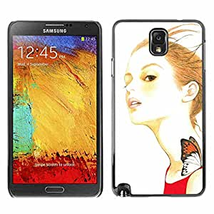 Shell-Star ( Artsy Girl Butterfly ) Fundas Cover Cubre Hard Case Cover para Samsung Galaxy Note 3 III / N9000 / N9005
