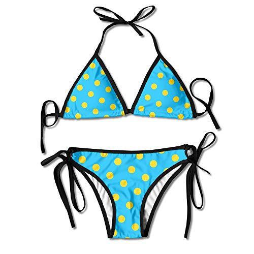 Womans Blue Yellow Dots Sexy 2-Piece Bikini Set Swimsuit Bathing Suits Padded Bra ()