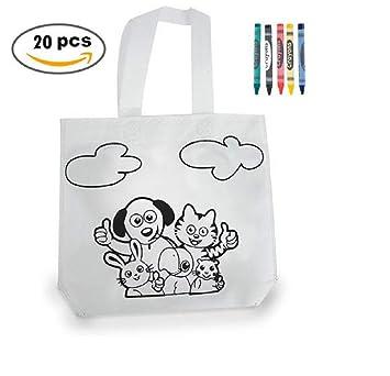 MIRVEN Lote 20 Bolsas para Colorear Ideal para Regalos de cumpleaños, comuniones, colegios, guarderías y Celebraciones. Bolsas Merienda y Almuerzos