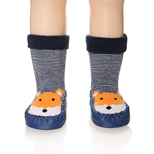 Eocom Baby Boy Girls Toddlers Animal Moccasins Non-Skid Indoor Slipper Winter Warm Shoes Socks (Squirrel, 18-24 Months)