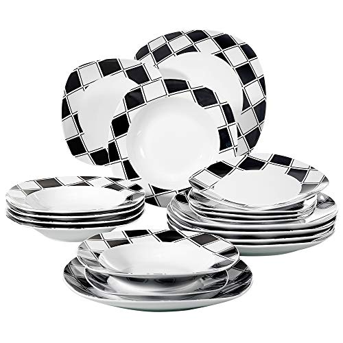 VEWEET 18-Piece Porcelain Dinnerware Set Square Black Grids Patterns Kitchen Plates with Dinner Plate, Soup Plate, Dessert Plate, Service for 6 (NICOLE Series)