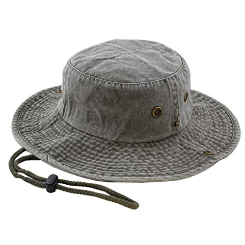 (THE HAT DEPOT 100% Cotton Stone-Washed Safari Wide Brim Foldable Double-Sided Outdoor Boonie Bucket Hat (L/XL, Pigment - Olive))