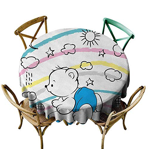 Zmlove Bear Polyester Tablecloth Children Kids Theme Cute Doodle Toy with Clouds Sun Moon and Houses Colorful Stripes Party Multicolor (Round - 51