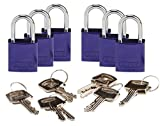 Brady 133268 Keyed Padlock, Different Key, Aluminum (Pack of 6)