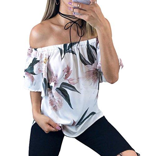 Estate Stile Floreale Elegante Senza 3 Camicetta Spalline T Shirt Stampa Blusa Maglietta Donna Sentao Camicia Tops 8qH646n