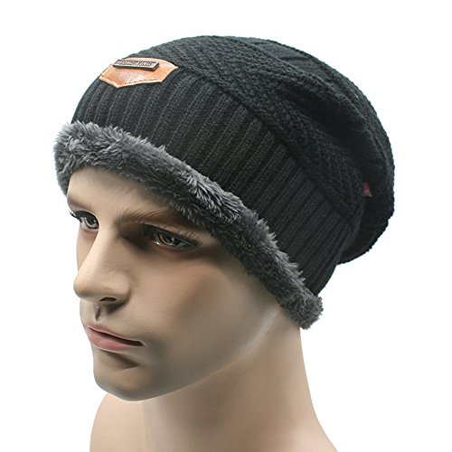 Beanie Hat Scarf Set Soft Lined Thick Knit Skull Cap Men Winter Slouchy Beanie (Black And Yellow Striped Nylon Stockings)