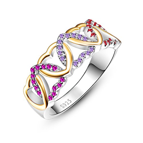 [Merthus 925 Sterling Silver Heart Multi-color Gemstone Half Eternity Ring Band] (Solid Sterling Silver Square Braid)