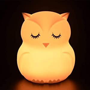 Owl Night Light for Kids Rechargeable Baby Silicone Nightlight Remote Control for Bedroom Nursery Night Lamp with Auto-off Timer Animal Touch Sensor Night Lights 9 Colors Change for Teen Girls Toddler